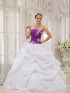 White and Eggplant Purple Appliques Quinceanera Dress with Pick-ups