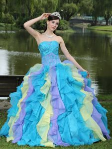 Appliques Layered Ruffles Colorful Dresses 15 Wear For Graduation