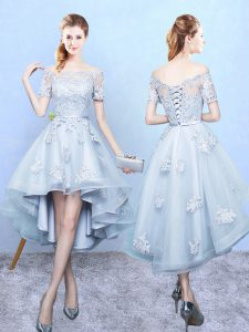 Dramatic Lace Damas Dress Light Blue Lace Up Short Sleeves High Low