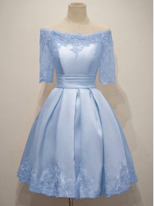 Off The Shoulder Half Sleeves Taffeta Dama Dress for Quinceanera Lace Lace Up