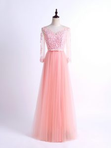 Pink Tulle Lace Up Court Dresses for Sweet 16 Half Sleeves Floor Length Lace