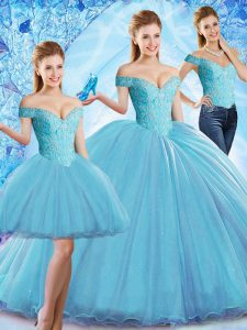 Popular Baby Blue 15 Quinceanera Dress Organza Sweep Train Sleeveless Beading