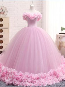 Ball Gowns Sleeveless Baby Pink Sweet 16 Dresses Brush Train Lace Up