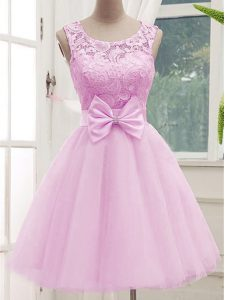 Luxurious Lilac A-line Tulle Scoop Sleeveless Lace and Bowknot Knee Length Lace Up Vestidos de Damas
