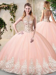 Fabulous Sleeveless Floor Length Beading and Appliques Backless Quinceanera Gowns with Peach