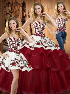 Fitting Wine Red Ball Gowns Embroidery 15th Birthday Dress Lace Up Organza Sleeveless