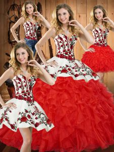 Most Popular Embroidery and Ruffles Quinceanera Dresses Red Lace Up Sleeveless Floor Length