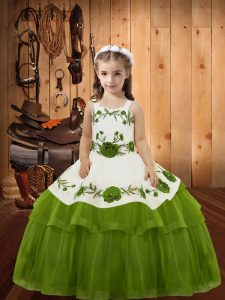 Olive Green Straps Lace Up Embroidery and Ruffled Layers Pageant Dresses Sleeveless