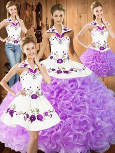 Sophisticated Halter Top Sleeveless Lace Up 15th Birthday Dress Lilac Fabric With Rolling Flowers