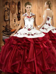 Ideal Wine Red Sleeveless Embroidery and Ruffles Floor Length Sweet 16 Dresses
