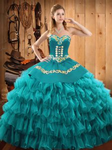 Ideal Floor Length Teal Quinceanera Dresses Sweetheart Sleeveless Lace Up