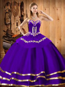 Sleeveless Floor Length Embroidery Lace Up Quinceanera Gown with Purple