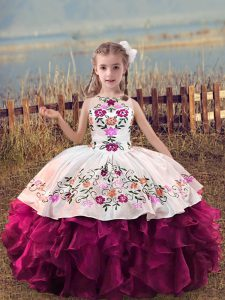 Dazzling Sleeveless Embroidery and Ruffles Lace Up Little Girls Pageant Dress Wholesale