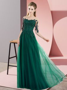 Dark Green Half Sleeves Beading and Lace Floor Length Court Dresses for Sweet 16