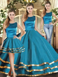 Teal Scoop Lace Up Ruffled Layers Quinceanera Dresses Sleeveless