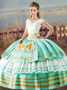 High End Sleeveless Lace Up Floor Length Beading and Ruffled Layers 15 Quinceanera Dress