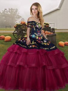 Amazing Fuchsia Tulle Lace Up Off The Shoulder Sleeveless Quinceanera Dress Brush Train Embroidery and Ruffled Layers