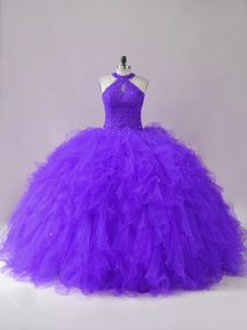 Halter Top Sleeveless Lace Up Quince Ball Gowns Purple Tulle