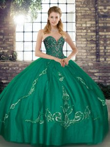 Turquoise Lace Up Quinceanera Gown Beading and Embroidery Sleeveless Floor Length