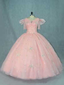Free and Easy Peach Ball Gowns V-neck Short Sleeves Organza Floor Length Zipper Beading Sweet 16 Quinceanera Dress