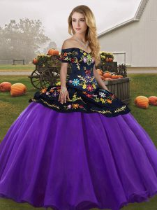 Tulle Off The Shoulder Sleeveless Lace Up Embroidery 15 Quinceanera Dress in Purple