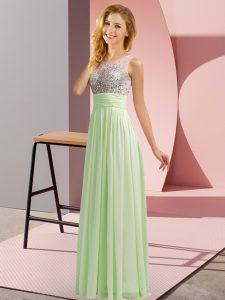 Ideal Yellow Green Side Zipper Scoop Beading Quinceanera Court of Honor Dress Chiffon Sleeveless