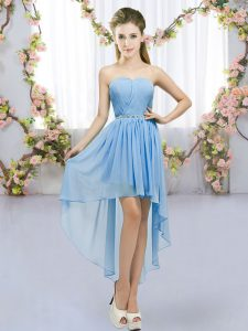 Top Selling Blue Chiffon Lace Up Vestidos de Damas Sleeveless High Low Beading
