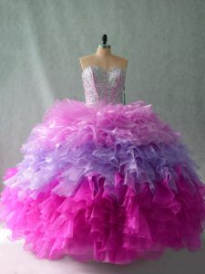 Multi-color Sleeveless Organza Lace Up Sweet 16 Dress for Sweet 16 and Quinceanera