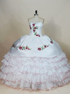 White Sweet 16 Dresses Sweet 16 and Quinceanera with Embroidery and Ruffled Layers Strapless Sleeveless Lace Up