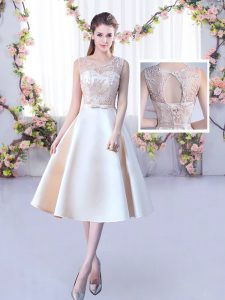Chic Champagne Scoop Neckline Lace and Belt Dama Dress for Quinceanera Sleeveless Lace Up