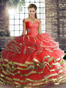 Designer Off The Shoulder Sleeveless Tulle Quinceanera Dresses Beading and Ruffled Layers Lace Up