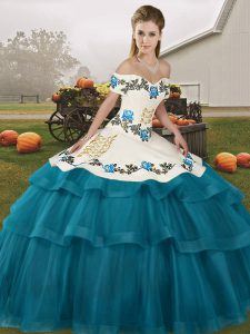 Sleeveless Embroidery and Ruffled Layers Lace Up 15 Quinceanera Dress with Teal Brush Train