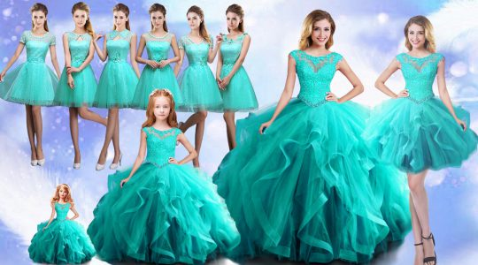 New Style Aqua Blue Scoop Neckline Beading Sweet 16 Quinceanera Dress Cap Sleeves Lace Up