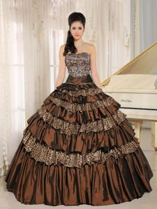 Chocolate Multi-tiered Strapless Dress for Sweet 15 with Leopard
