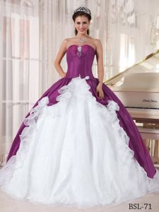 Purple and White Strapless Organza and Taffeta Quinceanera Dresses