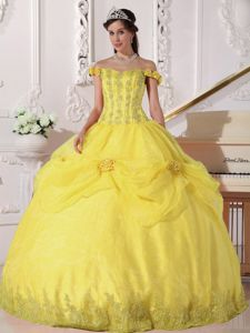 Hand Made Flowers Off the Shoulder Dress Quinceanera in Yellow