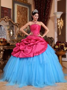 Red and Blue Taffeta and Tulle Appliques Quinceanera Gown 2013
