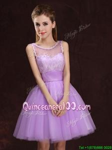 New Style Lilac A-line Tulle Scoop Sleeveless Lace and Ruching Mini Length Lace Up Quinceanera Court of Honor Dress