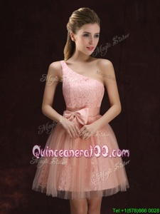 Exceptional One Shoulder Mini Length Peach Dama Dress Tulle and Lace Sleeveless Spring and Summer and Fall Lace and Bowknot