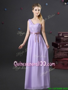 Clearance One Shoulder Lavender Lace Up Quinceanera Court of Honor Dress Lace and Appliques and Belt Sleeveless Floor Length