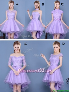 Sophisticated Lavender A-line Taffeta and Tulle Sweetheart Sleeveless Lace and Bowknot High Low Lace Up Dama Dress for Quinceanera
