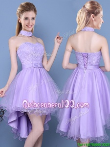 Affordable High Low Lavender Quinceanera Court of Honor Dress Sweetheart Sleeveless Lace Up