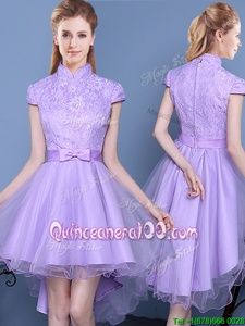Fitting Lavender A-line High-neck Short Sleeves Taffeta and Tulle High Low Zipper Lace and Bowknot Damas Dress
