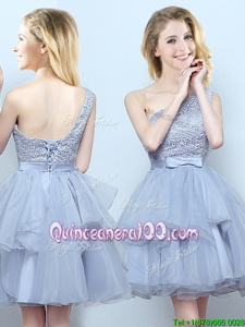 Extravagant One Shoulder Sleeveless Lace Up Dama Dress for Quinceanera Grey Organza