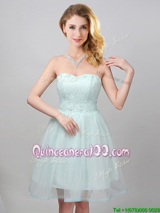 Glorious Sleeveless Mini Length Lace and Appliques Lace Up Quinceanera Court Dresses with Apple Green