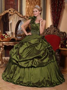 Olive Green One Shoulder Taffeta Quince Dresses with Flowers