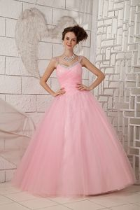 Pink Straps Tulle Beaded Floor-length Sweet Sixteen Dresses