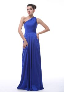 Taffeta One Shoulder Royal Blue Dama Quinceanera Dress with Pleat