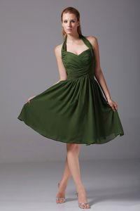 Halter Top Olive Green Dama Dress with Ruches in Chiffon