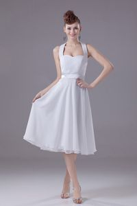 Discount Chiffon Halter Top White Dama Dress in Tea-length
